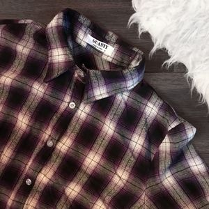 Vintage Black and Purple Plaid Boyfriend Flannel